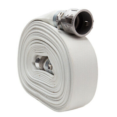 "White 2"" x 50' Single Jacket Camlock (Cam and Groove) Mill Discharge Hose"