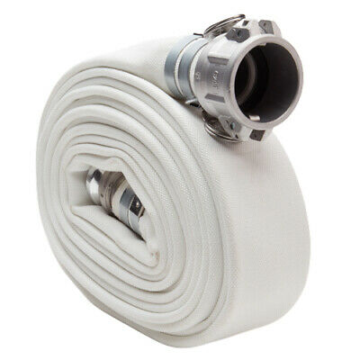 "White 1 1/2"" x 25' Camlock Double Jacket Mill Hose"