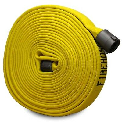 "Yellow 1"" x 50' Forestry Fire Hose (Aluminum NH Couplings)"