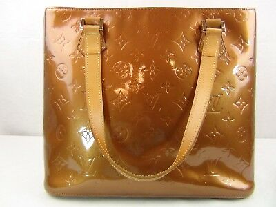 US seller Authentic LOUIS VUITTON VERNIS HOUSTON BAG PURSE LV BRONZE Good 0468a2ae5b81a