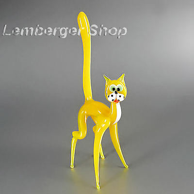 Glass figurine cat made of colored glass. Height 15 cm / 6 inch!