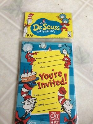 Dr Seuss Cat In The Hat Birthday Party Invitations 10 Count New Package