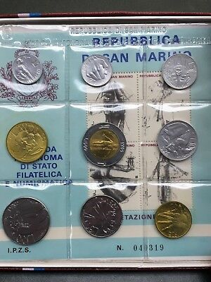 1985 San Marino Uncirculated Mint 9 Coin Set with stamps & original box coa
