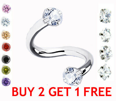 SPARKLE Crystal Twister Ring Spiral Cartilage Piercing Tragus Belly Lip Ring Bar