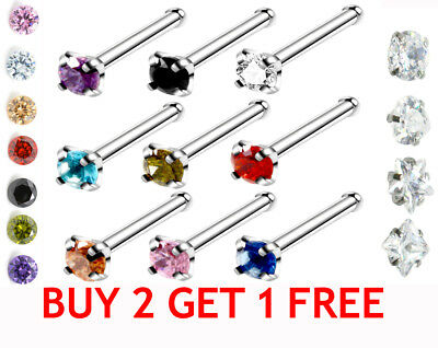 SPARKLE Straight Crystal Nose Piercing Silver Nose Stud Jewelled Nose Pin Rings