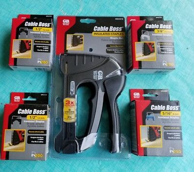Gardner Bender Cable Boss Staple Gun & 4 Boxes Of Insulated Staples 5/16 3/8 1/2