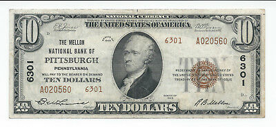 1929 $10 The Mellon National Bank Pittsburgh Pennsylvania National Currency 6301