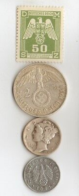 -* WWII - *US  and  *german   SILVER  and  ZINK  coins  and   stamp +..