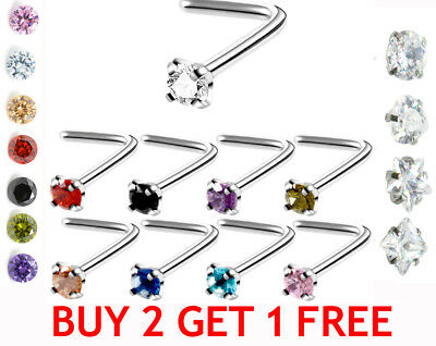 SPARKLE POP Crystal L Nose Piercing Silver Nose Stud Small Jewelled Nose Rings