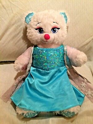 Build-a-Bear Frozen White Sparkly Elsa Soft Plush Stuffed Animal Doll Toy 17""