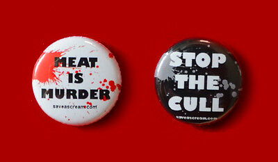 2 MEAT IS MURDER & STOP THE CULL animal rights badges 25mm vegan