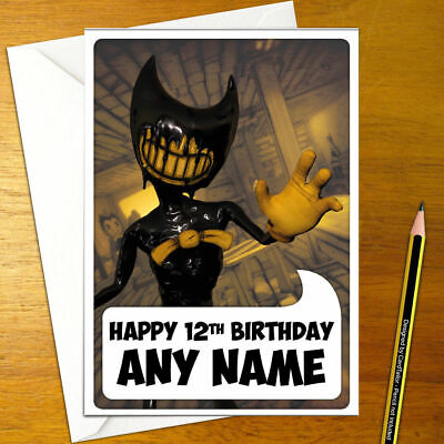 BENDY AND THE INK MACHINE Personalised Birthday Card - inky alice personalized
