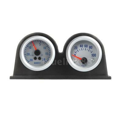 "Double Dual Auto Car Gauge Meter Pod Holder Cup Mount 2"" 52mm O5X9"