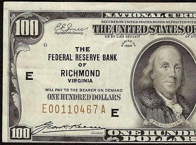 1929 $100 Dollar Bill Richmond Fr Bank Note National Currency Paper Money 1890-E
