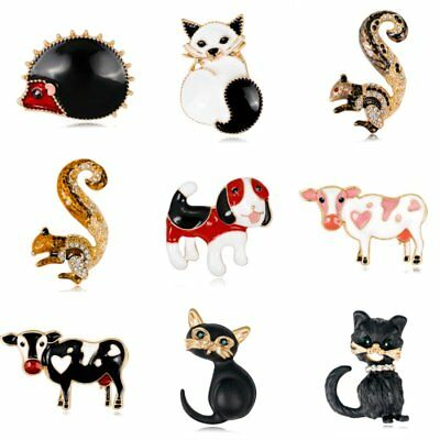 Halloween Lovely Animals Cat Dog Squirrel Crystal Brooch Pin Women Party Jewelry