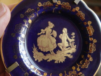 VINTAGE LIMOGES SMALL PLATE & STAND - COURTING COUPLE COBALT - made in France