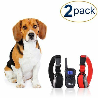 Two Shock Collar for Small Dogs w/Remote + FREE Training Clicker- 3 Modes
