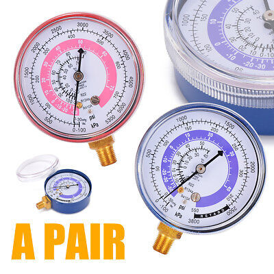 Pair R134A R22 R410A Air Conditioner Refrigerant Low and High Pressure Gauge UK