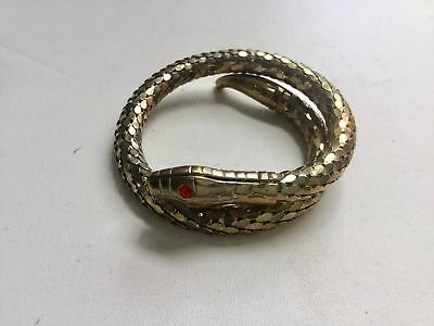 Antique Vintage Art Deco Egyptian Revival Rhinestone Snake Whimsical Bracelet
