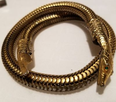 Vintage Antique Egyptian Revival Whimsical SNAKE Bracelet Emerald Green Costume