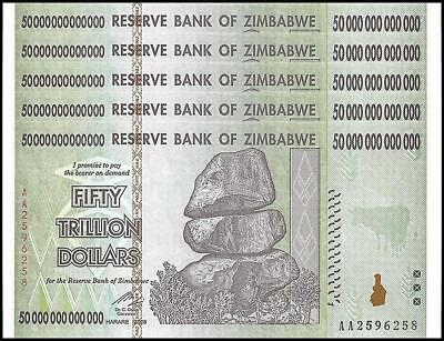 5 Pcs x Zimbabwe 50 Trillion Dollars, Uncirculated 2008AA AUTHENTIC NOTE