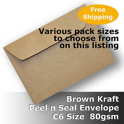 Kraft Brown ReCycled C6 Size Envelopes 80gsm Wallet Shape Peel N Seal #S0171P