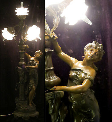 Antique Spelter Lady lamp rose glass Figurine Vintage French newel post shabby
