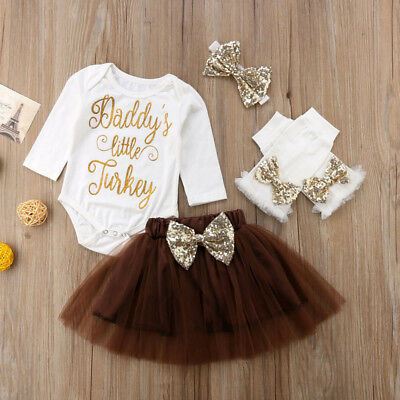DADDY'S LITTLE TURKEY Baby Girls Tops+Tutu Skirts Headband Outfit Thanksgiving
