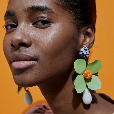 Zara Big Flower Floral Drop Earrings Bloggers Sold Out Statement Oversized