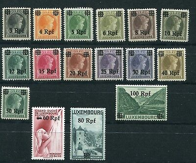 Germany Occupation Ww2 Luxembourg Overprint Set Mnh N17-N32 Perfect Mnh