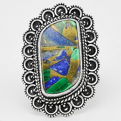 Malachite Copper and Lapis 925 Sterling Silver Plated Ring Jewelry s.8 MR02144