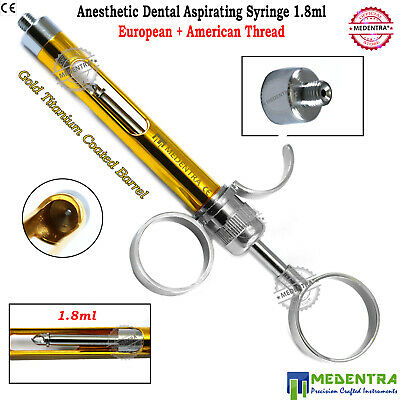 Dental Syringe Aspirating Anesthesia 1.8ml Anesthetic Golden Barrel Free Thread