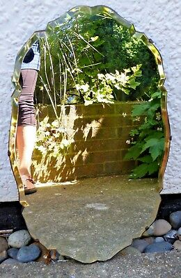 "Vintage Oval Frameless Wall Mirror Bevelled Edge Wood Back 21 x 13"" Art Deco"