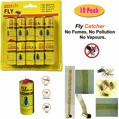 1x,10x Fly Paper Strong Sticky Glue Insect Bug Catcher Killer Roll Tape Strip UK