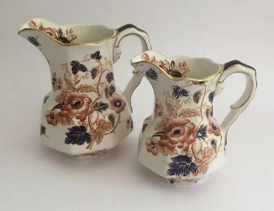 Enoch Wedgwood Pair Of Matching Pitchers/Jugs in 'Windermere' 'Old Derby'Design