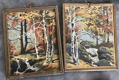 Paint By Number Vintage mountaineering Mountain Forest Tree Collection Lot Of 2