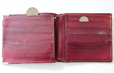 Old leather wallet burgundy vintage 1980s 1990s good quality but rather tatty