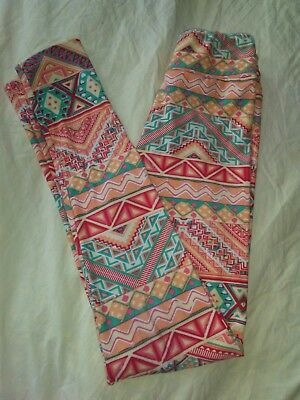 Lularoe TWEEN Leggings, Aztec/Geometric Print in Orange Shades & Turquoise