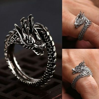 Glow In The Dark Adjustable Opening Dragon Ring Ancient Silver Luminous