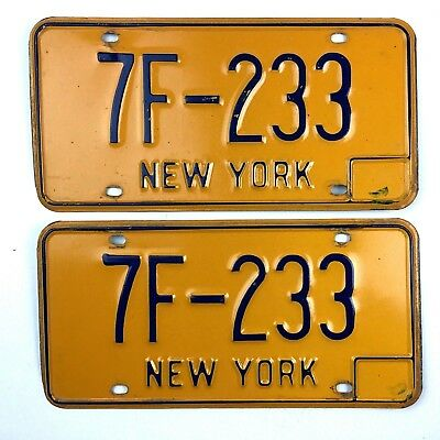 New York 1973 Base Pair License Plate Garage Low Number Vtg Classic Car Set