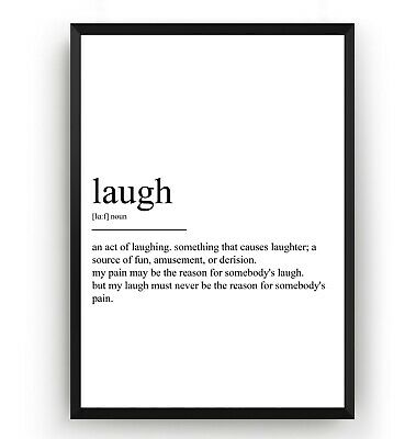 Laugh Definition Poster - Print Inspirational Wall Art Decor Gift - Unframed