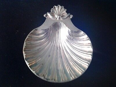 Silver Plated Clam Shell Dish Circa 1950 Sheffield England Reproduction Design