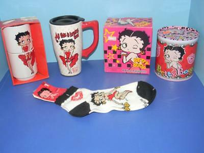 Large Betty Boop Lot Travel Mug, Cups Dinner Ware, Bank, Socks New With Tags