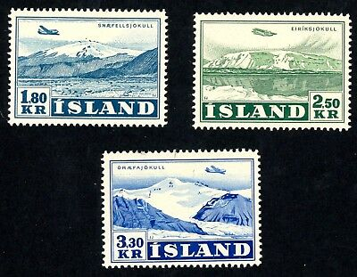 1952 Iceland Air Post Stamps Scott #C27, C28, C29  All Mint, VF, H