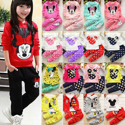 Toddler Kids Baby Girls Minnie Mouse Outfits Clothes Tops Coat Pants Outfits Set