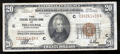 1929 $20 National Currency Federal Bank Of Philadelphia PA Brown Seal Note