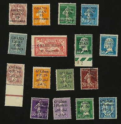 1924-25 Lebanon 16 Stamps Mix Used, Unused, See Description