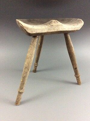 Antique Early Primitive 19th c. Sculptural Wood Modern Form Milking Stool