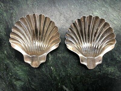 Pair of Napier Sterling Silver Shell Design Footed Ashtrays *Free Shipping*