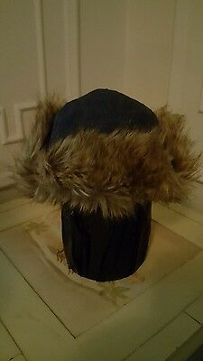 7ebecd085d5d2 LANDS END YOUTH Aviator Trapper Cap Winter Hat Blue Size M L With ...